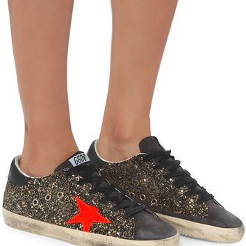 Superstar Black And Gold Glitter Low-Top Sneakers