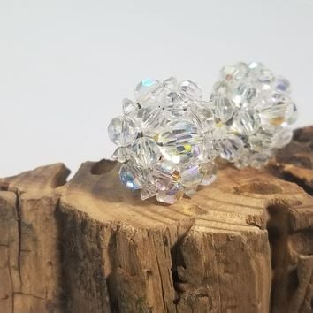 Clear rainbow aurora borealis Austrian crystal cluster clip on earrings.