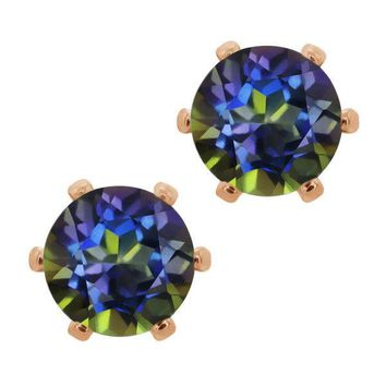1.60 Ct Round 6mm Blue Mystic Topaz Brass Rose Gold Plated Brass Stud Earrings
