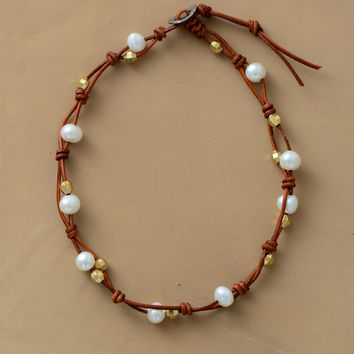 Freshwater Pearl and Leather Choker Necklace