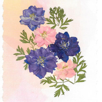 Real Pressed Flower Greeting Card - Birthday Card - Thank You Card - Note Card - Real Blue and Pink Larkspur, Blank card