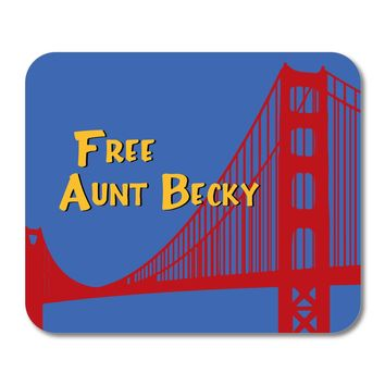 """DistinctInk Custom Foam Rubber Mouse Pad - 1/4"""" Thick - FREE AUNT BECKY - Blue Background"""