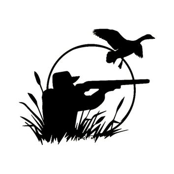 18cm*15.4cm Hunter Wild Duck Hunting Car Decals Vinyl Stickers Fashion Car-Styling Black/Silver S6-2690