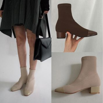 Fashion Ankle Elastic Sock Boots Chunky Med Heels Stretch Women Autumn Kardashian Sexy Booties Square Toe Women Pump - Beauty Ticks