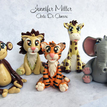Birthday or Baby Shower Safari Animal Clay Cake Toppers or Figurines