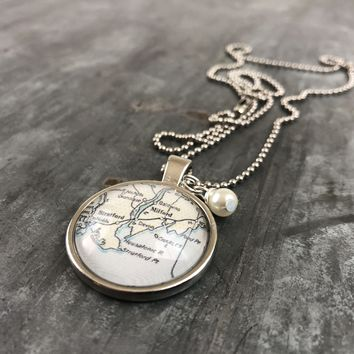 Stratford Milford Trumbull CT Map Pendant with Hand Wrapped Bead 24-in