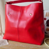 Charming Red Chic Simple Leather Large Tote. Shoulder Bag. Green Color | GlamUp - Bags & Purses on ArtFire