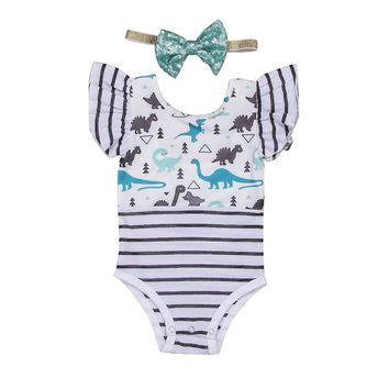 Sleeve Dinosaur Romper Plaid Ruffles Striped Jumpsuit Outfit Baby Clothing