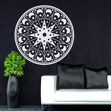 Flower Wall Decals Mandala Om Yoga Indian Pattern Stars Living Room Interior Vinyl Decal Sticker Art Mural Bedroom Kids Room Decor MR371