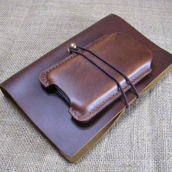 Retro minimalist leather iPhone 4/4s bag - Hand Stitched iphone case (Dark brown wax leather)
