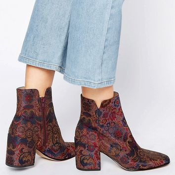ALDO Sully Floral Block Heeled Ankle Boots
