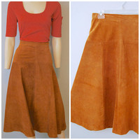 Vintage 1970's Brown Suede Leather Midi Skirt A-Line Firenze Santa Barbara for Sax Fifth Avenue High Waist Size Large Bohemian Boho Fall