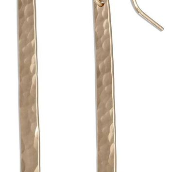 12K GOLD-FILLED LONG HAMMERED BAR DANGLE EARRINGS