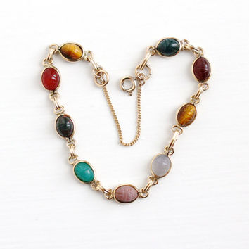 Vintage 12k Rosy Yellow Gold Filled Scarab Bracelet - Retro Carved Colorful Tiny Beetle Tiger's Eye Bloodstone Gem Dainty Egyptian Jewelry