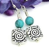 Pewter Spiral Smoked Turquoise Glass Earrings Handmade Dangle Jewelry