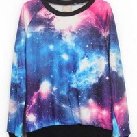 Pink and Blue Galaxy Print Pullover Sweatshirt