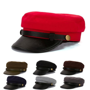 Army Cadet Military Navy Sailor Cap Flat Top Hat Leather Buckle Unisex Men Women = 1929815620