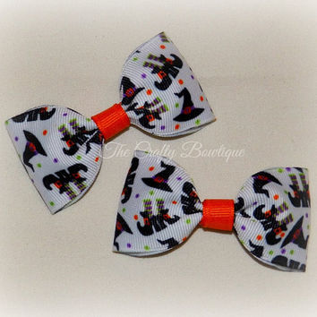 Ghosts & Goblins Bow ~ Halloween Hair Bow ~ Halloween Clippies ~ Small Halloween Bow ~ Halloween Tuxedo Bows ~ Baby Toddler Bow ~ Bow Tie