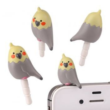 Strapya World Cockatiel Earphone Jack Accessory (I am gray)