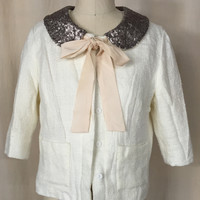 MODCLOTH Monteau White Bow Tie Blazer with Sequins, Size M