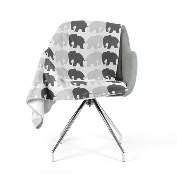"NL Designs ""Elephants On Parade"" Gray Animals Fleece Throw Blanket"