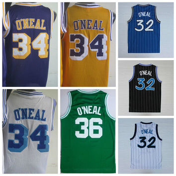 2016 Retro 32 Shaquille ONeal Jersey Rev 30 New Material 34 Shaquille O Neal Shirts 36 ONeal Throwback Uniforms Yellow Purple White Blue