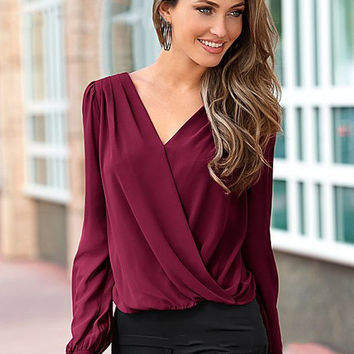 Red Wine Back Lace Long Sleeve Shirt