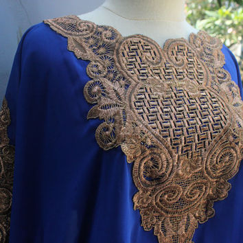 Blue Caftan Dress Tunic Gold Embroidery Kaftan Wedding Party Summer Dress Batwing Style