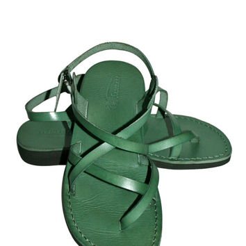 Green Triple Leather Sandals