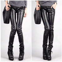 Aliexpress.com : Buy Casual women pants PU leather Spliced pants stretch pants feet pants pencil pants female trousers pants DXH712 1 5123 40 from Reliable pants pad suppliers on eFoxcity Wholesale