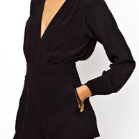 Black Deep V-Neck Long Sleeve Romper