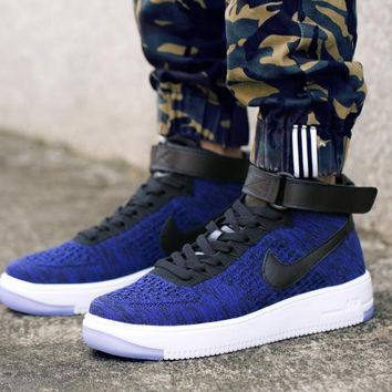 PEAPON Nike Air Force 1 Flyknit Mid-High 817420-400 Blue For Women Men Running Sport Casual Shoes Sneakers
