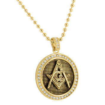 Mens Masonic Medallion Pendant & Chain