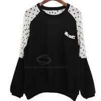 Youthful Scoop Neck Matching Color Dot Pattern One Pocket Long Sleeves T-Shirt For Women