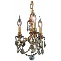 "Lillie 10"" Diam Chandelier, French Golden Teak Crystal, Royal Cut"