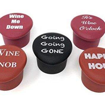 5 Wine Stoppers  Funny Silicone Reusable Corks Best Wine Gifts Add Your Own Personalized Touch on Bottles Top Perfectly Fits to Seal and Preserve Your Favorite Wine Cap Wedding Favor more funny