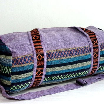 Tribal Duffle Bag for Men Women, Hipster Sport Gym bag, Canvas Weekender bag, Holdall, Hippie Duffel bag, Short trip Travel bag, Purple