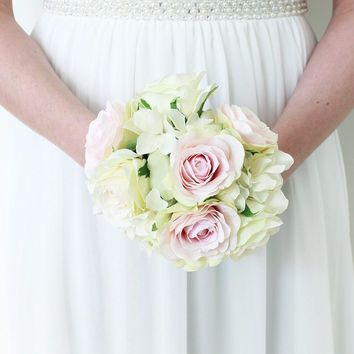 """Silk Rose and Hydrangea Bouquet in White Pink with Light Green - 9"""" Tall"""
