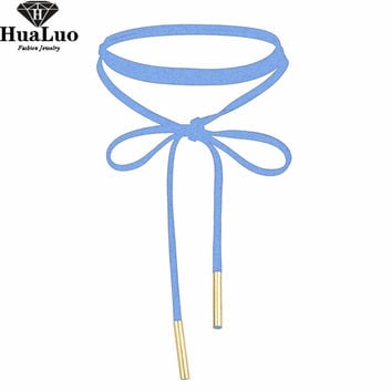 HUALUO New Trend Charms Women Light Blue Velvet Choker Necklace Elegant  Bowknot Collares Necklaces for Ladies NW3465