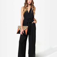 Sexy Backless Jumpsuit - Black Jumpsuit - Halter Jumpsuit
