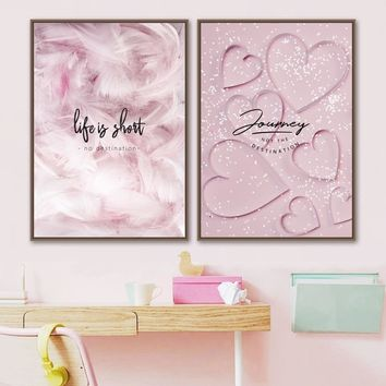 Pink Feather Heart Quotes Wall Art Canvas Painting Nordic Posters And Prints Canvas Art Salon Wall Pictures Baby Girl Room Decor