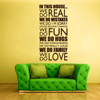 Wall Decal Vinyl Sticker Decals Decor Art Bedroom Design Mural Lettering Quote In This House We.. (z748)