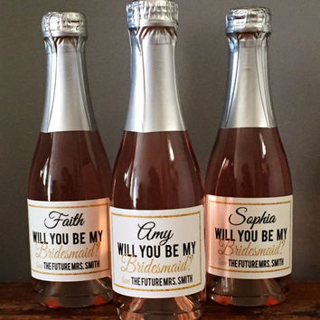 Mini Will You Be My Bridesmaid Custom Champagne Label, Bridesmaid Wine Label, Bridesmaid Proposal, Bridal Party Gift, Ask Bridesmaid, Gold
