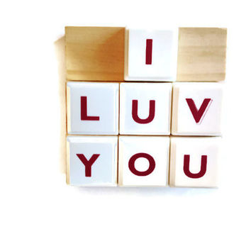 I LUV YOU handmade magnets set of 3 reworked board games natural white retro kitchen office gift