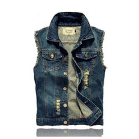 4 COLORS Fashion Men's Denim Vest Jeans Slim Fit Mens Sleeveless Jacket Plus Size Patchwork Waistcoat Summer Autumn Winter [9221917188]