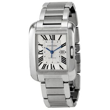 Cartier Tank Anglaise Silver Dial Stainless Steel Bracelet Ladies Watch W5310009