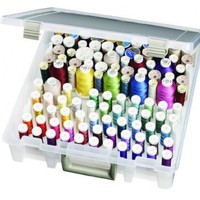 Art Bin Super Satchel Box with Two Removable Thread Trays- Clear/White Sewing Storage Container, 9002AB
