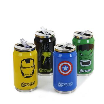 New Cartoon Stainless Steel Vacuum Cup 300ml/450ml Straw Thermos Mug Thermal Water Bottle Tumbler Thermocup Thermomug