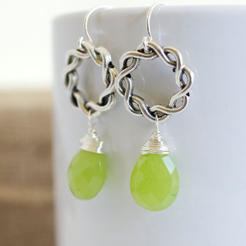 Green Chalcedony Dangle Earrings, Green Dangle Earrings, Wire Wrapped Earrings, Silver Earrings