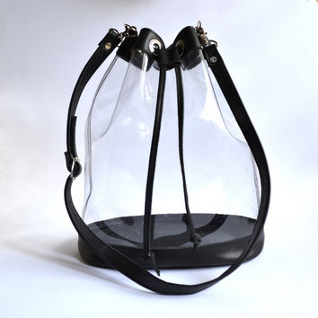 Peny Clear Plastic Drawstring Bucket bag | Golden Ponies